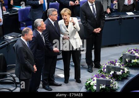 Berlin, Germany. 10th Sep, 2014. German Chancellor Angela Merkel (2nd R) and President of Poland Bronislaw Komorowski - Stock Photo