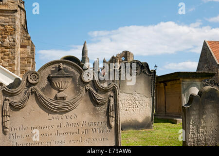 Headstones St Mary's Church graveyard East Cliff Whitby North Yorkshire England UK United Kingdom GB Great Britain - Stock Photo