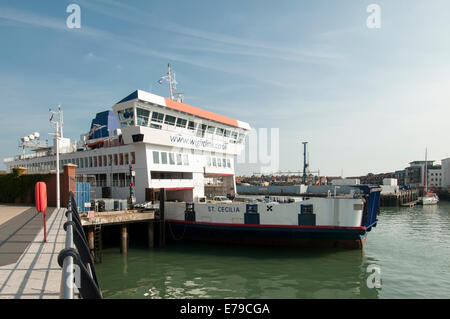 St Cecilia, Wightlink Isle of Wight ferry at Camber dock in Portsmouth Harbour - Stock Photo