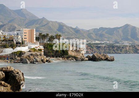 Balcon de Europa, viewing platform, coast, Nerja, Málaga Province, Costa del Sol, Andalusia, Spain - Stock Photo