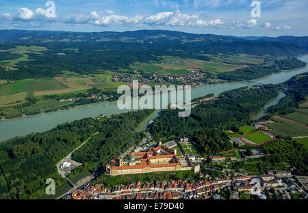Aerial view, Melk Abbey, Benedictine monastery, Austrian Baroque, Melk, Wachau, Lower Austria, Austria - Stock Photo