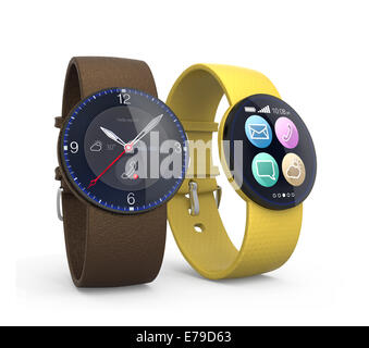 Smart watches isolated on white background - Stock Photo