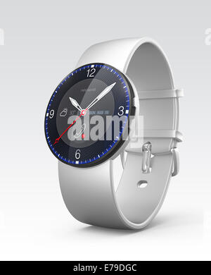 Silver smart watch with analogue dial display - Stock Photo