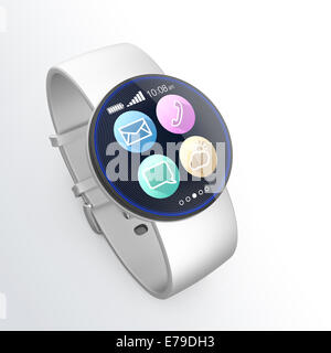 Smart watch isolated on light gray background - Stock Photo