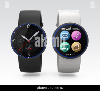 Smart watches with different interface - Stock Photo