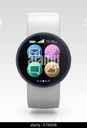 Smart watch with useful app as smartphone - Stock Photo