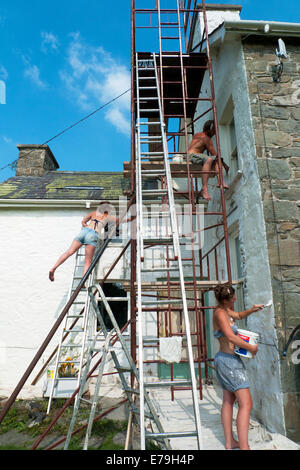 Carmarthenshire Wales UK, 10th September 2014. On a hot sunny day in September painters Ben and Penny Shipman and - Stock Photo
