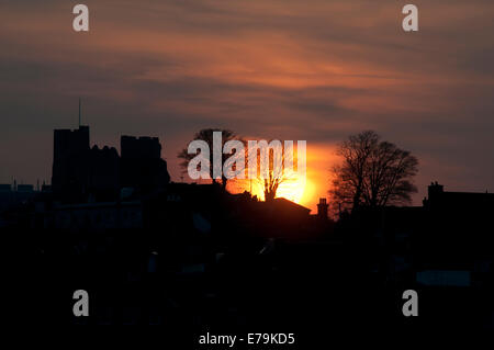 Sun setting over Lewes Castle in winter - Stock Photo