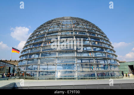 Glass dome roof of Reichstag parliament building in Berlin Germany - Stock Photo