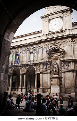 Palazzo dei Giureconsulti with clock, facing the Piazza dei Mercanti, in Milan, Italy. - Stock Photo