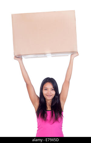 woman holding a postal package - Stock Photo