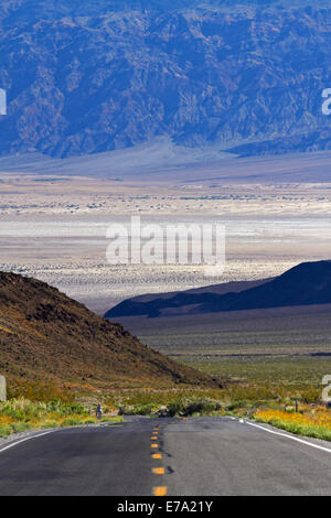 State Route 190 climbing up from Death Valley over Panamint Range, Death Valley National Park, Mojave Desert, California, - Stock Photo