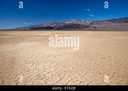 Dried mud in salt Pan, Panamint Valley, and Argus Range, Death Valley National Park, Mojave Desert, California, - Stock Photo