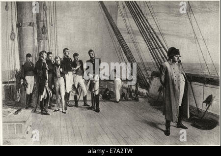 Napoleon on Board the Bellerophon, from the Painting by W. Q. Orchardson, 1880, Intaglio-Gravure print by Mentor - Stock Photo