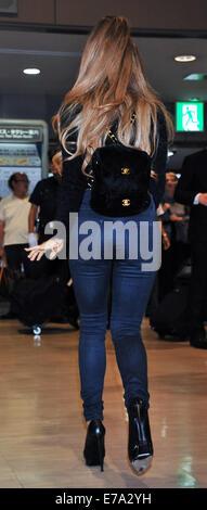 Tokyo, Japan. 11th September, 2014.  Singer Ariana Grande arrives at Narita International Airport in Chiba-Prefecture, - Stock Photo