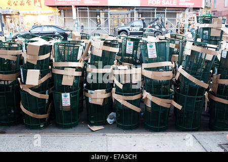New York City Trash Cans - New - Stock Photo