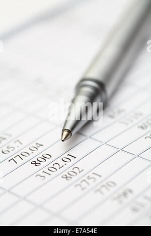 Financial statements. Ballpoint pen on financial statements. SDOF. Close-up. Stock Photo