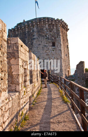 Watch path detail of Kamerlengo castle and fortress in Trogir, Croatia, on the border of Dalmatian coast. - Stock Photo