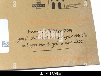 DVLA envelope notifying that from the 1st of October you still need to tax your vehicle but you won't get a tax - Stock Photo