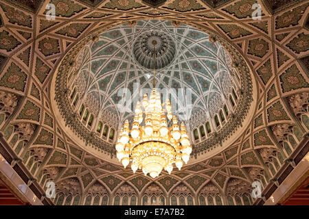 Large chandelier in the dome, Sultan Qaboos Grand Mosque, Muscat, Oman - Stock Photo