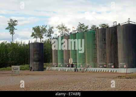 Row of oil storage tanks for cold heavy oil production with sand (CHOPS) Alberta, Canada - Stock Photo