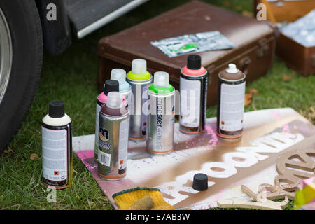 Spray cans for the use of Graffiti Artwork - Stock Photo