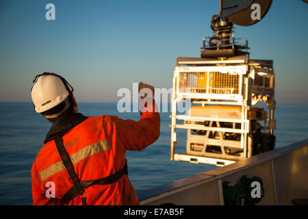 A Remotely Operated Vehicle (ROV) working offshore - Stock Photo