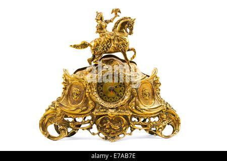 Old golden clock - Stock Photo