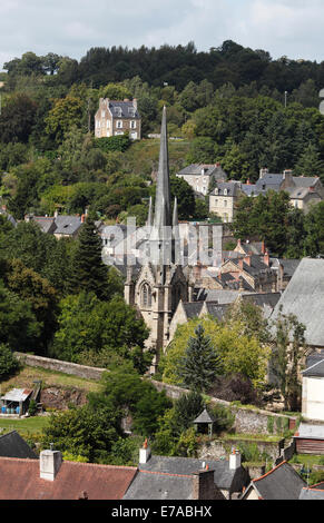 Fougeres cathedral in the old town Brittany, France - Stock Photo