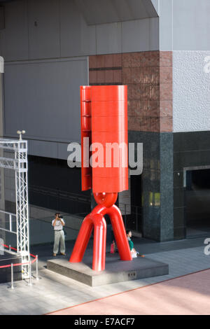 Large red steel sculpture in Kyoto Railway Station, Kyoto Japan - Stock Photo