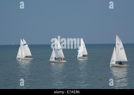New York, Rochester. Sailing school boats on Lake Ontario. - Stock Photo