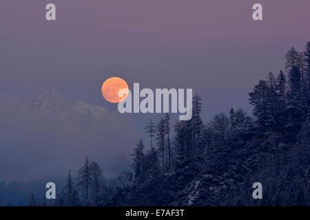 Full moon rising over Wilder Kaiser mountain, Brixlegg, Tyrol, Austria - Stock Photo