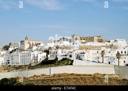 View of the town of Vejer de la Frontera, Cadiz Province, Costa de la Luz, Andalusia, Spain - Stock Photo