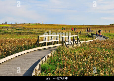 Boardwalk to the Ring of Brodgar, neolithic henge and stone circle, Mainland, Orkney, Scotland, United Kingdom - Stock Photo