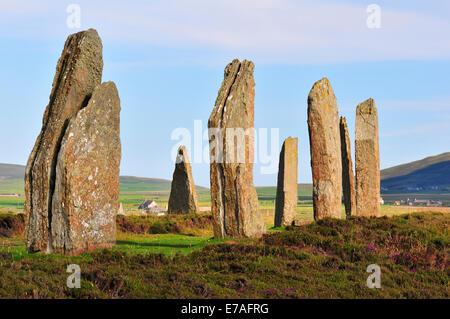 Ring of Brodgar, neolithic henge and stone circle, Mainland, Orkney, Scotland, United Kingdom - Stock Photo