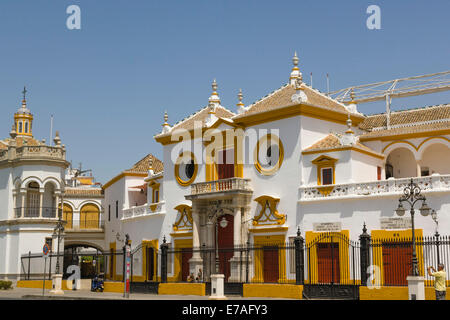 Plaza de Toros de la Real Maestranza de Caballeria de Sevilla, bullfighting ring, Paseo de Cristobal Colon, El Arenal, - Stock Photo
