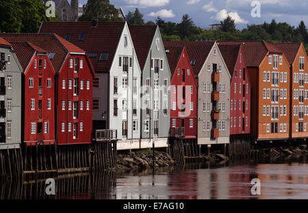 Colourful wooden houses on stilts on the Nidelv River, Trondheim, Norway, Scandinavia - Stock Photo