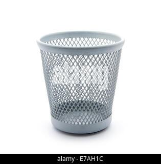 empty garbage bin isolated on white background - Stock Photo