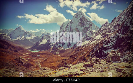 Retro vintage filtered picture of Himalaya mountains landscape, Nepal. - Stock Photo