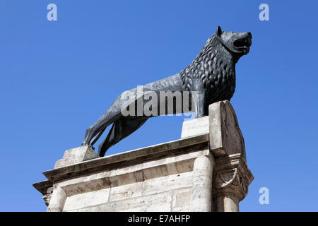 Braunschweiger Loewe lion monument on the Burgplatz square, Brunswick, Lower Saxony, Germany, Europe, - Stock Photo