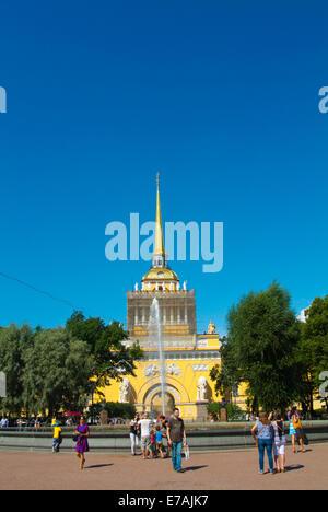 Admiralty building tower (1823), Alexander Garden, central Saint Petersburg, Russia, Europe - Stock Photo