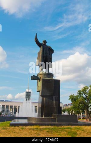 Statue of V.I. Lenin, Ploshchad Lenina, Lenin square, in front of Finland station, Saint Petersburg, Russia, Europe - Stock Photo