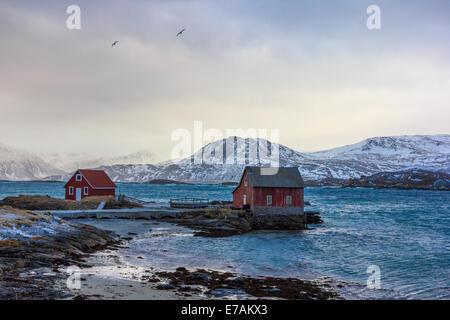 Traditional rorbu in Lofoten islands in Norway