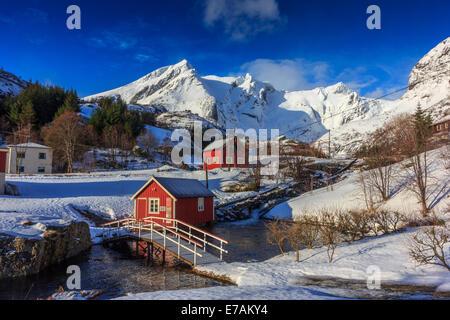 Small norwegian village in winter