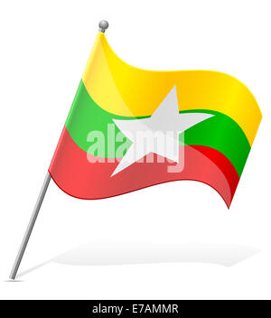 flag of Asia countries illustration isolated on white background - Stock Photo