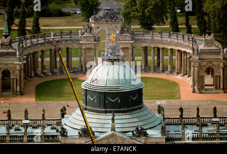The colonnade (back) of the New Palace is seen from bird's eye view in Potsdam-Sanssouci, Germany, 08 September - Stock Photo