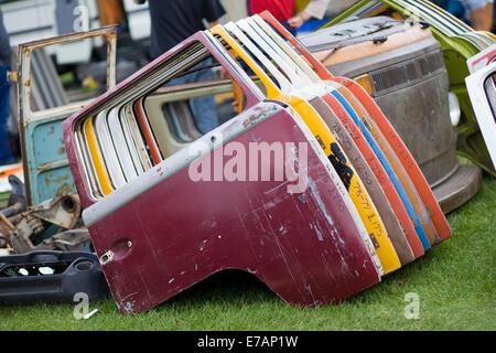 Volkswagen Camper Doors for sale in a auto market - Stock Photo