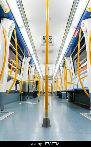 MADRID - DECEMBER 21: Inside an empty subway train on December 21, 2012 in Madrid, Spain. - Stock Photo