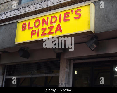 Blondie's Pizza sign - Stock Photo