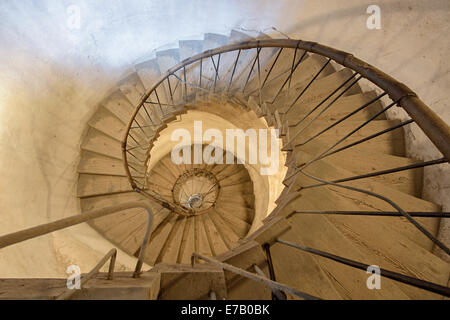 Wooden stairs in Bezdez castle - Stock Photo